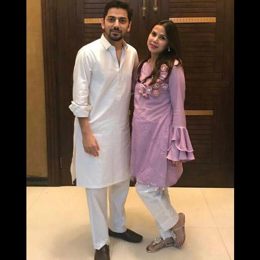 Phatyma Khan in her own label and Zohaib Khan celebrating Eid