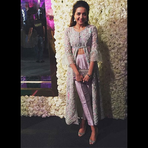 Maliha Aziz in a gorgeous Farah Talib Aziz Mint and Lavender Ensemble