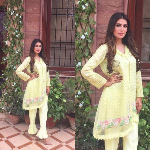 Aiza khan glows in pretty yellow by Sana Abbas this Eid