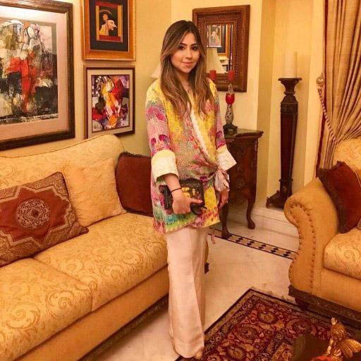 Mishaal Shirazee looking on trend this Eid in a Farah Talib Aziz luxe silk wrap