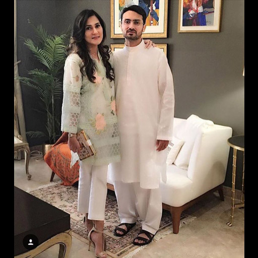 Rabia Khalid is picture perfect in a Farah Talib Aziz outfit, paired with Jimmy Choo heels and a Louis Vuitton box clutch