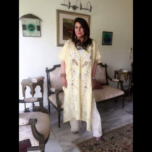 Novera shamim oozes grace in a Zohra Alam kaftan and pleated pants this Eid