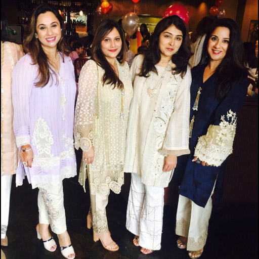 Lovely ladies in Austin at an Eid Milan lunch wearing gorgeous Zohra Alam ensembles