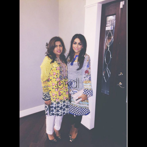 Mother-daughter duo, Farkhra and Ammara Khalid from Virginia wearing Sapphire tops from PKDL on Eid.
