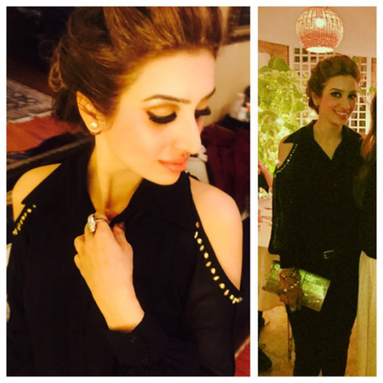 Wearing a black cut-out shoulder top by Nadia Ellahi SS'14 paired with Micheal Kors skinnys and Jimmy Choo clutch