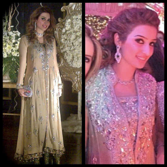 (left) Nadia in a long stand collar jacket worn with choli and palazzos from Bridal Trousseau 2014  (right) Mint stand collar long jacket from Nadia Ellahi' trousseau'15 collection