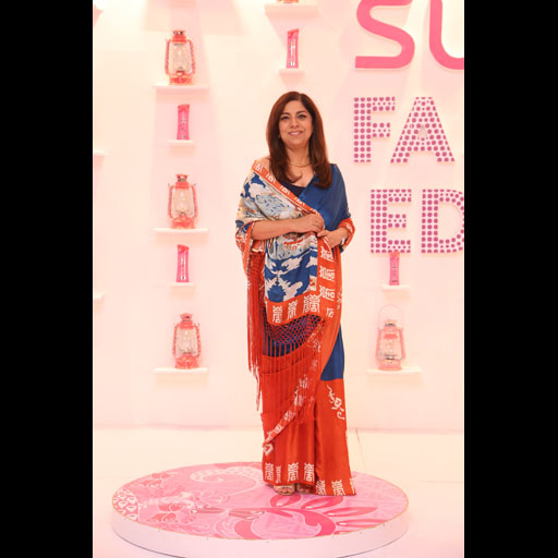 Fareshteh Aslam in a Shehla Chatoor sari